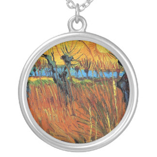 Willows at Sunset,Vincent van Gogh Silver Plated Necklace