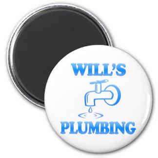 Will's Plumbing 6 Cm Round Magnet