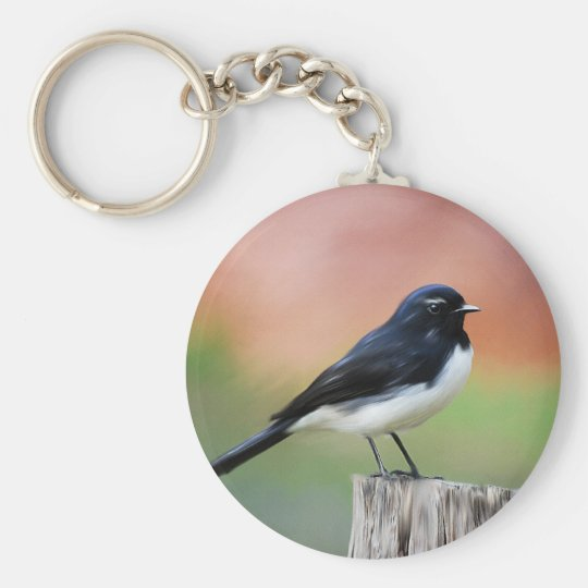 Willy Wagtail - Australian Bird Art Basic Round Button Key Ring
