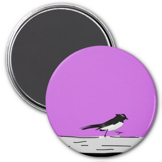"""Willy Wagtail"" Magnet (Pink)"