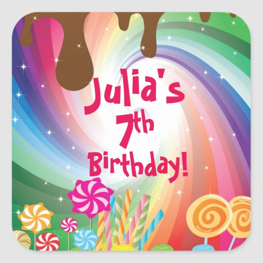 Willy Wonka Candyland Birthday Stickers