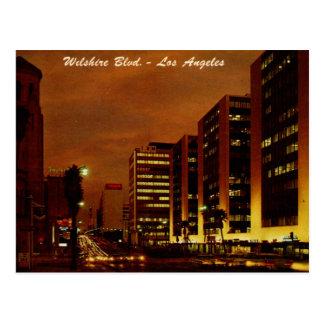 Wilshire Blvd. at Night, Los Angeles Vintage Postcard
