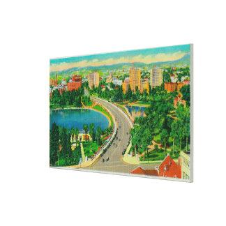 Wilshire Boulevard, Gen. Douglas MacArthur Stretched Canvas Print