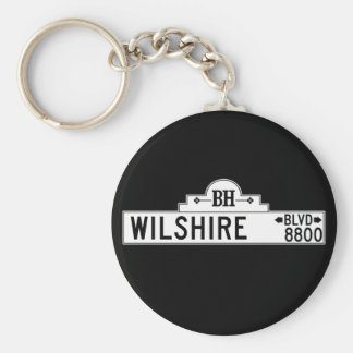 Wilshire Boulevard, Los Angeles, CA Street Sign Basic Round Button Key Ring