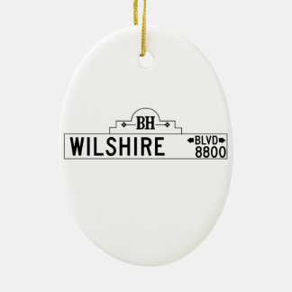 Wilshire Boulevard, Los Angeles, CA Street Sign Ceramic Oval Decoration