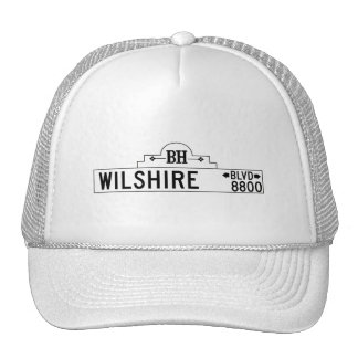 Wilshire Boulevard, Los Angeles, CA Street Sign Mesh Hats