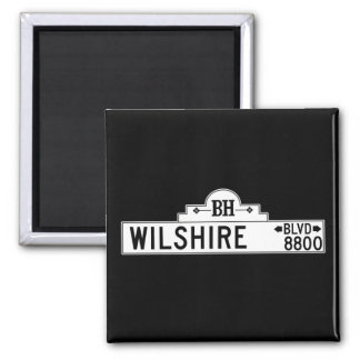 Wilshire Boulevard, Los Angeles, CA Street Sign Square Magnet