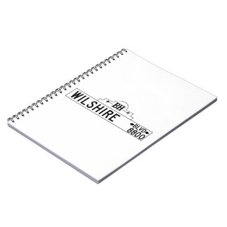 Wilshire Boulevard, Los Angeles, CA Street Sign Spiral Note Books