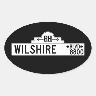 Wilshire Boulevard, Los Angeles, CA Street Sign Oval Sticker
