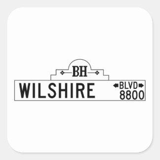 Wilshire Boulevard, Los Angeles, CA Street Sign Square Sticker