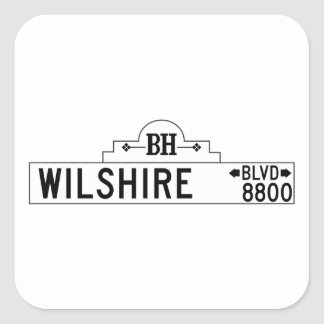Wilshire Boulevard, Los Angeles, CA Street Sign Square Sticker