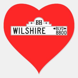 Wilshire Boulevard, Los Angeles, CA Street Sign Heart Sticker