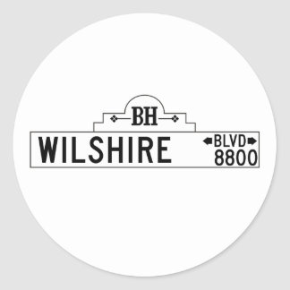 Wilshire Boulevard, Los Angeles, CA Street Sign Round Sticker