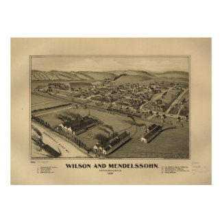 Wilson (Allegheny) Penn 1902 Antique Panoramic Map Poster