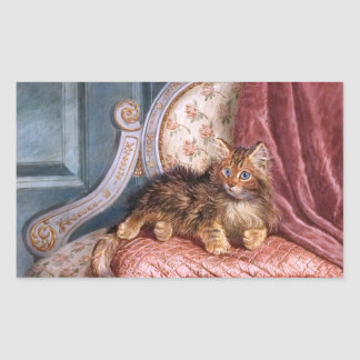 Wilson Hepple: Brown Kitten on an Armchair Rectangular Sticker