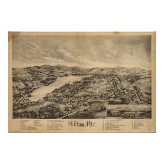Wilton Maine 1895 Antique Panoramic Map Posters