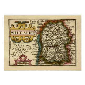 Wiltshire County Map, England Poster