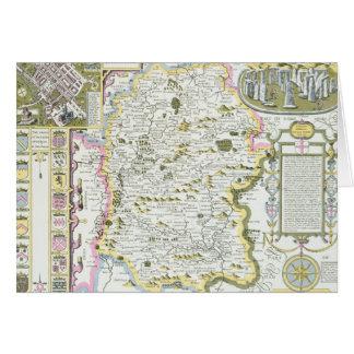 Wiltshire, engraved by Jodocus Hondius Card