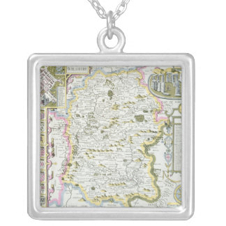 Wiltshire, engraved by Jodocus Hondius Silver Plated Necklace