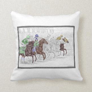Win Place Show Race Horses Cushion
