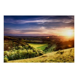 Winchester hill sunset across folding farmland poster