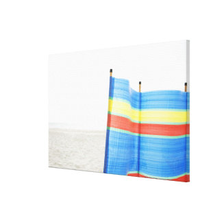 Wind Break on Beach Canvas Print