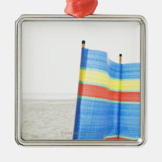 Wind Break on Beach Silver-Colored Square Decoration