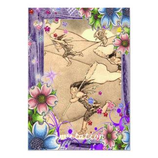 Wind fairies With Flowers 13 Cm X 18 Cm Invitation Card