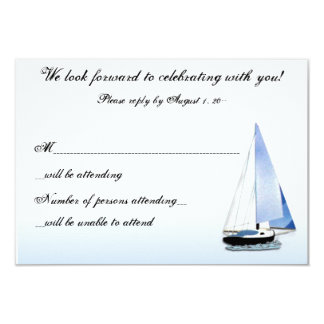 "WIND IN MY SAIL Sailboat Sailing RSVP Reply Notes 3.5"" X 5"" Invitation Card"