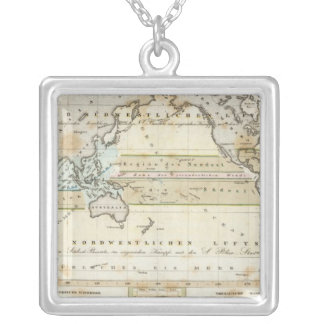 Wind Map of Earth Silver Plated Necklace