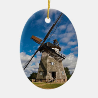 Wind mill with blue sky ceramic oval decoration