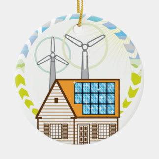 Wind n Solar Small House Vector Eco Energy Christmas Ornament