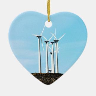 Wind Power 1  Mojave Tehachapi Wind Farm Ceramic Heart Decoration