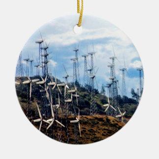 Wind Power 3  Mojave Tehachapi Wind Farm Round Ceramic Decoration