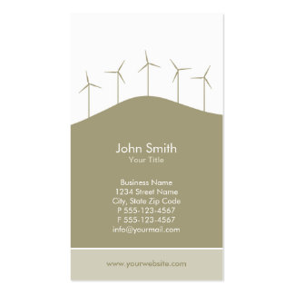 Wind power - beige turbines business card template