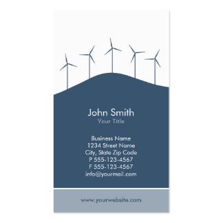 Wind power - blue turbines business card template