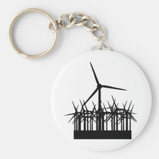 wind power environment basic round button key ring