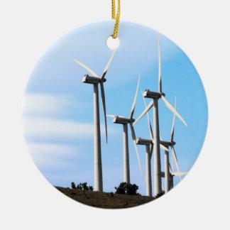 Wind Power Mojave Tehachapi Wind Farm Round Ceramic Decoration