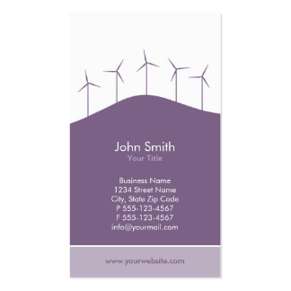 Wind power, purple turbines business card template