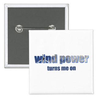 Wind Power Turns! 15 Cm Square Badge
