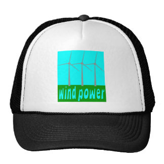 Wind Power With Turbines And Sky Mesh Hat
