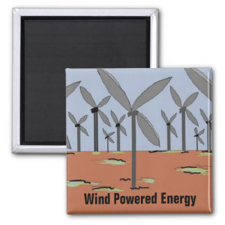 Wind Powered Windmills Square Magnet