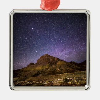 Wind River Canyon at Night Silver-Colored Square Decoration