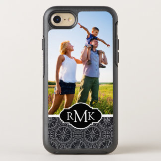 Wind Rose Compass Pattern   Your Photo & Monogram OtterBox Symmetry iPhone 8/7 Case