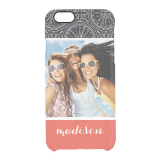 Wind Rose Compass Pattern | Your Photo & Name Clear iPhone 6/6S Case