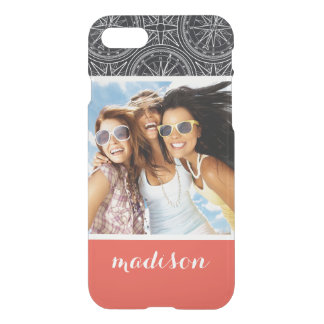 Wind Rose Compass Pattern | Your Photo & Name iPhone 8/7 Case