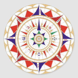 Wind Rose Compass Rose by Jorge de Aguiar in 1492 Classic Round Sticker