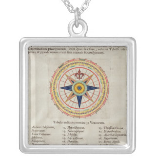 Wind rose with the 32 winds ofthe world silver plated necklace