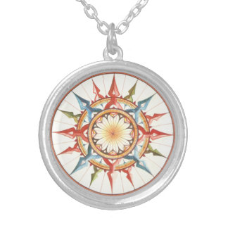 Wind rose woman silver plated necklace