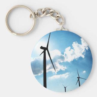 Wind turbine basic round button key ring
